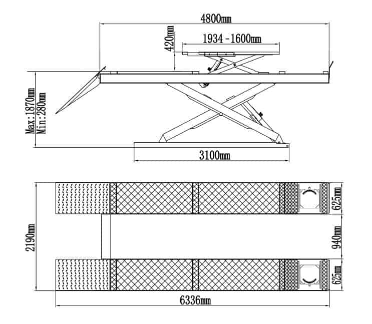 Classic Double Scissor Lift CLDS 4TA 4.0T Alignment
